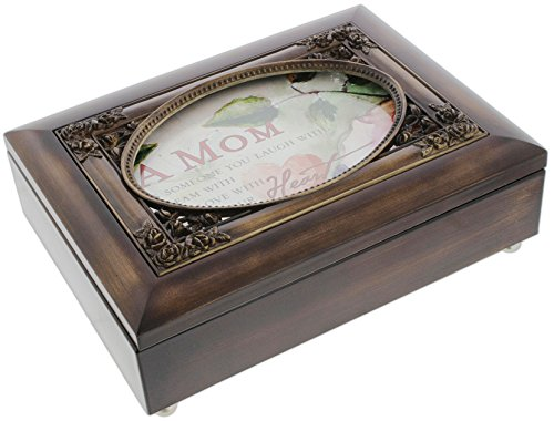 Musical Keepsake Box - Cottage Garden Dark Woodgrain Music Box with Poem Insert Amazing Grace (Mom)