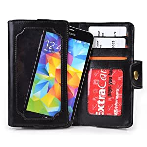 Black Leather Phone Case with Credit Card Slots fits LG P715 Optimus L7 II Dual