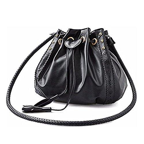 - VIASA Lady Tassels Drawstring Shoulder Bag Tote Purse Leather Women Messenger Hobo Bags Bucket Bag Retro Handbags Shoulder Bag Purses Crossbody Drawstring Bags For Women (Black)