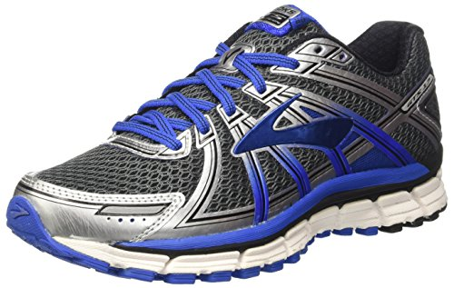 (Brooks Men's Adrenaline GTS 17 Anthracite/Electric Brooks Blue/Silver 7 D)