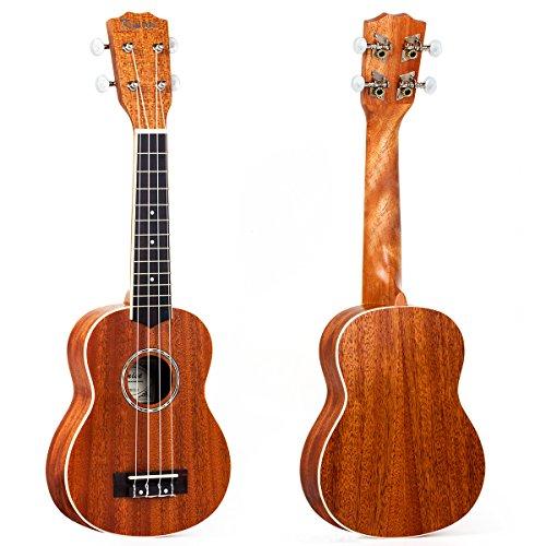 Kmise Acoustic Ukulele Ukelele Uke Soprano Hawaiian Guitar 21 Inch Mahagany (Abalone)