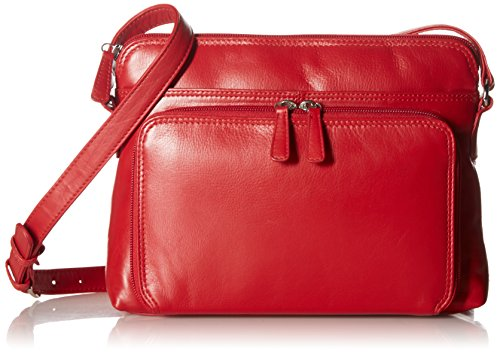 ili New York 6333 Leather Shoulder Handbag with Side Organizer (Red)