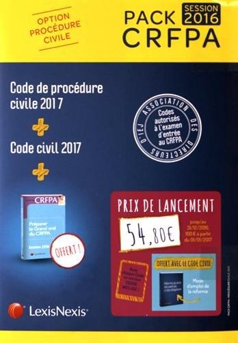 Pack CRFPA civil: code civil 2017 + code de procédure civile 2017 + prime oral CRFPA: Avec chaque Code sa version Ebook incluse. Broché – 25 août 2016 Collectif LexisNexis 2711026078 Droit
