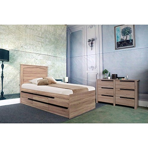 Benzara Contemporary Style Brown Finish Twin Size 6 Drawers Chest Bed