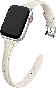 MARGE PLUS Compatible Apple Watch Band 38mm 40mm Women, Slim Genuine Leather Watch Strap Replacement for iWatch SE Series 6 5 4 3 2 1, (Beige Band paired with Sliver Adapter)