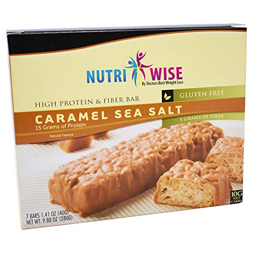 NutriWise - High Protein Diet Bar | Divine Caramel Sea Salt | Low Calorie, Low Fat 7/Box (Center For Medical Weight Loss Shake Nutrition)