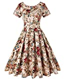 ROOSEY Women Short Sleeve Elegant Midi Dress 1950s Vintage A-Line Swing Tea Dress, Pattern 3, XX-Large