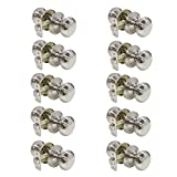 Probrico Satin Nickel Passage Door Handles Interior No Key Knob Lockset for Hall and Closet (Stainless Steel) 10 Pack