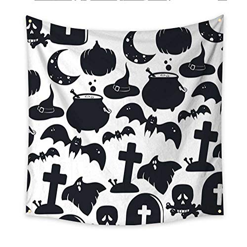 Anniutwo Beach Wall Tapestry Halloween Design Elements Pumpkin Cauldron Potion Witches hat Ghost Gravestone Scull and Bones Grave with Cross Moon bat Bedspread Dorm Accessories Decor 32W x 32L Inch ()