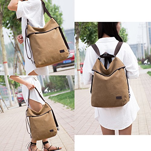 Leather Khaki Backpack Handbag Canvas Capacity Casual JOSEKO Multifunctional Canvas Microfiber Shoulder Large Women Rucksack Bags w4Aqw0R