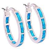 """CiNily Blue Fire Opal Women Jewelry Fashion Gemstone Silver Hoop Earrings 7/8"""""""
