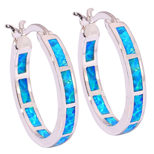 CiNily Blue Fire Opal Women Jewelry Fashion Gemstone Silver Hoop Earrings (Blue Opal Earrings)