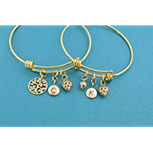 Mother Daughter bangle bracelets in gold stainless steel with bronze tree of life charms and personalized with golden bronze initial charms