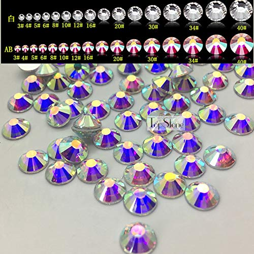 - Calvas Crystal AB Color Flatback Rhinestones Non Hotfix Silver Foiled Back Size SS3 SS5 SS6 SS10 SS12 SS16 SS20 S30 SS34 SS40 - (Item Diameter: SS40 144PCS)
