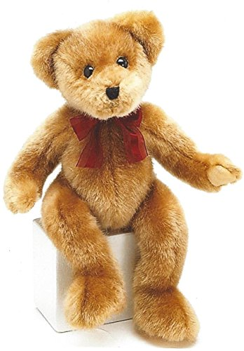 14 Inches Tall Plush - BNB Plush Teddy Bear 14 inch Tall Fluffy Brown Stuffed Animal Snuggle Toy w/Burgundy Ribbon Bow and Easy Tie Loop for Balloon or Gift tag Black Stitched Nose and Mouth Attached Eyes One Pal per Order
