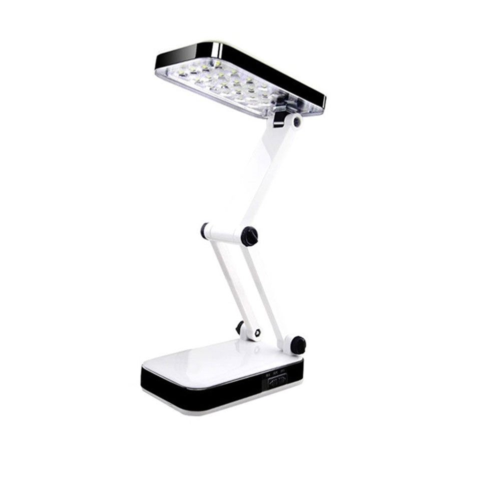 Zehui Solar Rechargeable Desk Lamp Eye Protection Foldable and Adjustable 24 LED Desk Lamp Super Bright Rechargeable Reading Lamp for Study Office Home White