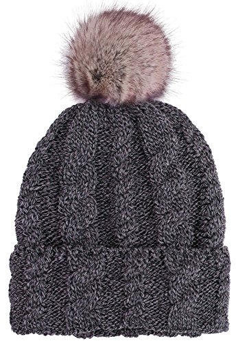 ARCTIC Paw Braided Heather Cable Knit Beanie wi...