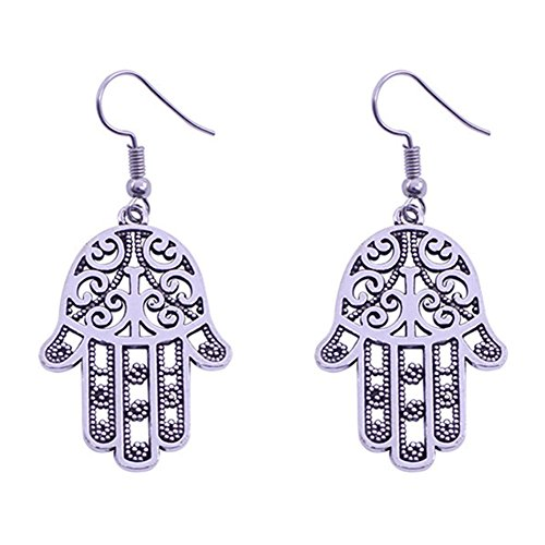 Sterling Silver Plated Vintage Patterns Hollow Fatima's hands charm Dangle - Earrings Fatima