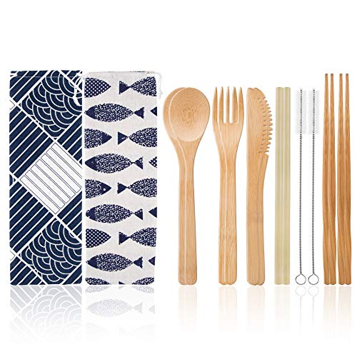 2 Set Bamboo Travel Utensils Cutlery Set with Cotton Pouch,Spoons Forks Knives Chopsticks Straws and Clean Brushes, Camping Bamboo Flatware Set