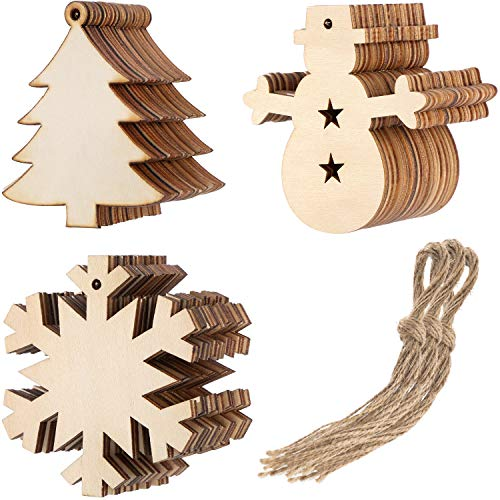 Tatuo 30 Pieces Christmas Wooden Cutouts Embellishments Hanging Ornaments with Christmas Tree Snowman Snowflake Patterns and 30 Pieces of Natural Twine, 3 Shapes ()