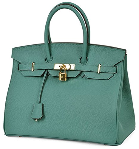 Tote Genuine Women's Leather Padlock Handbags Classic Aqua xfwFwt