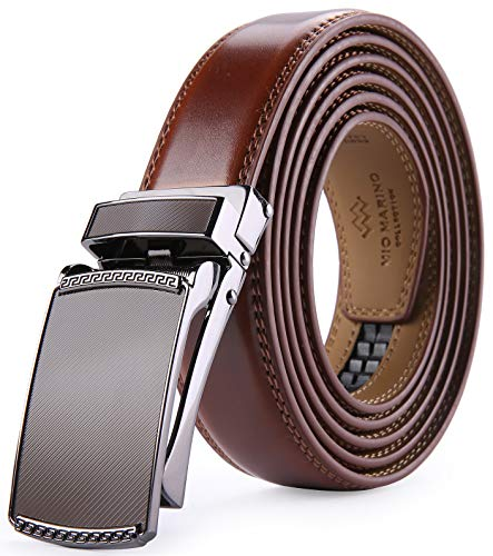 Marino Avenue Men's Genuine Leather Ratchet Dress Belt with Linxx Buckle - Gift Box (Burnt Umber - Style 201, Adjustable from 28