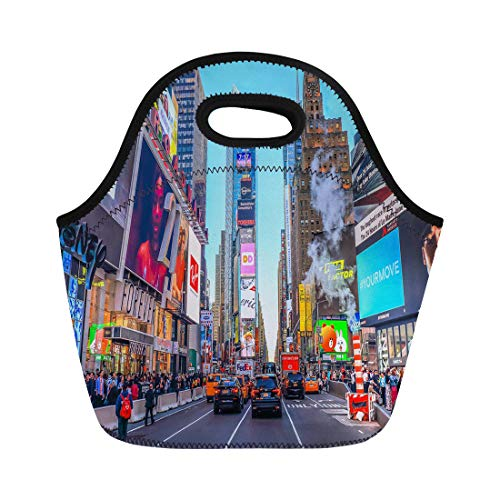 Semtomn Lunch Tote Bag New York City Usa June 7 Advertisements in Times Reusable Neoprene Insulated Thermal Outdoor Picnic Lunchbox for Men -