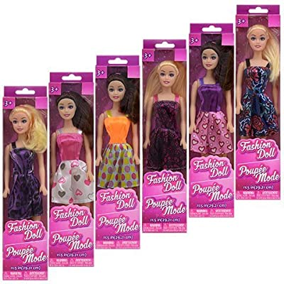 """American Fashion Dolls, 11"""". Set of 6 with different clothes. Introduce them to your Barbie collection. Great favors for Birthday Party gifts"""