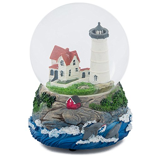 Cape Cod Lighthouse Cottage 100MM Music Water Globe Plays Tune Dock of the Bay by Cadona International, Inc (Image #4)