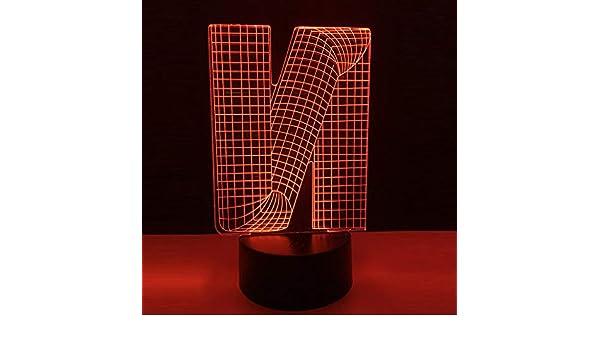 BFMBCHDJ Luminaria 3D Alfabeto Letra N Ilusión Lámpara Atenuación ...