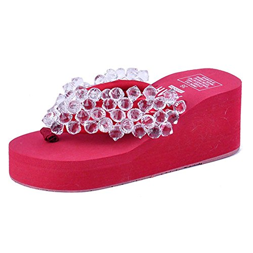 Flip T Crystal with Women's Beach Flops Holiday High Summer Red Heels Sandals Beaded JULY xrzqIwB8r
