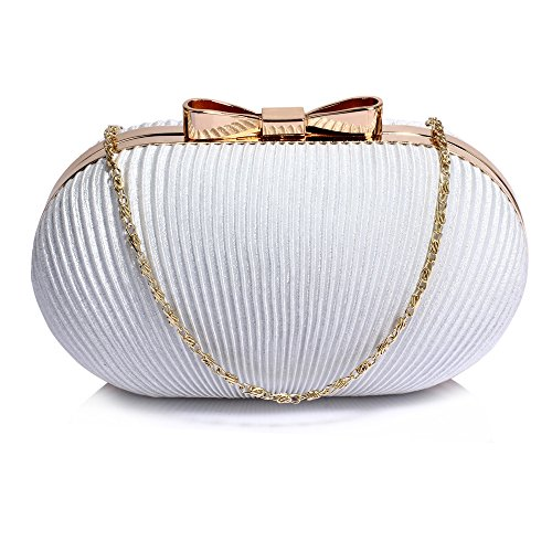 Ladies For Bags Pleated Chain 1 Evening Design Handbag Womens Party Clutch Designer Prom With Ivory Wedding xw7HYa