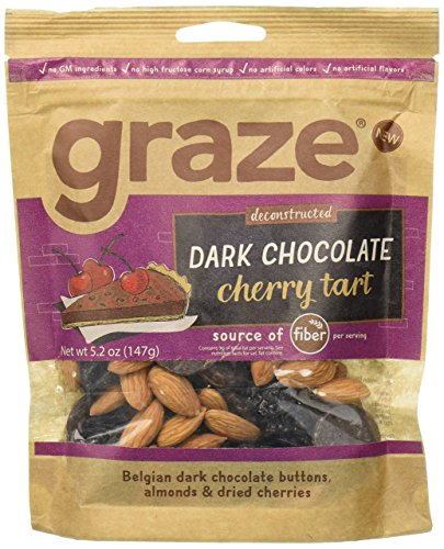 Tart Chocolate Dark (Graze Dark Chocolate Cherry Tart, Sweet Snack Mix with Almond Nuts, Dried Cherries and Belgian Dark Chocolate Buttons, 5.2 Ounce Bag)