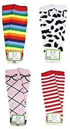 HipGirl Baby Leg Warmers for Babies, Toddlers and Children (4 Pairs Stripe, Rainbow Set)