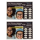 Gms Optical® 1.8mm x 13mm Short Anti-Slip Adhesive Contoured Silicone Eyeglass Nose Pads - Perfect for Kids Glasses and Smaller Frames - 5 Pair (Clear - 2 Pack)