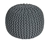 Homescapes Grey Knitted Pouffe Footstool Bean Filled 100% Cotton for Living Room Children or the Elderly