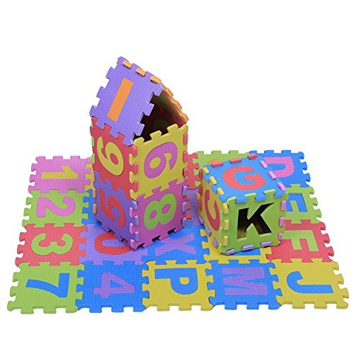 36Pcs Educational EVA Foam Children Playing Mat Interlocking Puzzle Cushion Pad Multicolored Alphabet Letters & Number Small Blocks Soft Floor Mat Kids Room Decor Indoor Fitness Yoga Carpet, 15×15CM