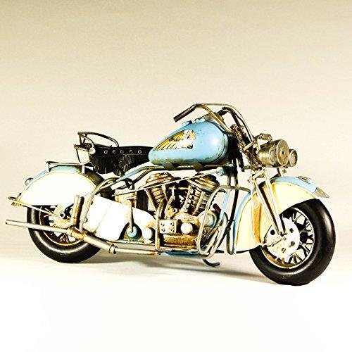 Metal Collectible Light Blue Replica Indian Motorcycle Model - Retro Industrial Decor - Metal Replica Decorative Bike Model - Collectible Motorbike Figurine - Tabletop Motorcycle - Retro Bike Ornament by EliteTreasures