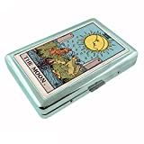 Tarot Card The Moon S20 Silver Cigarette Case Metal Wallet Id Holder 4'' X 2.75'' RFID Protection