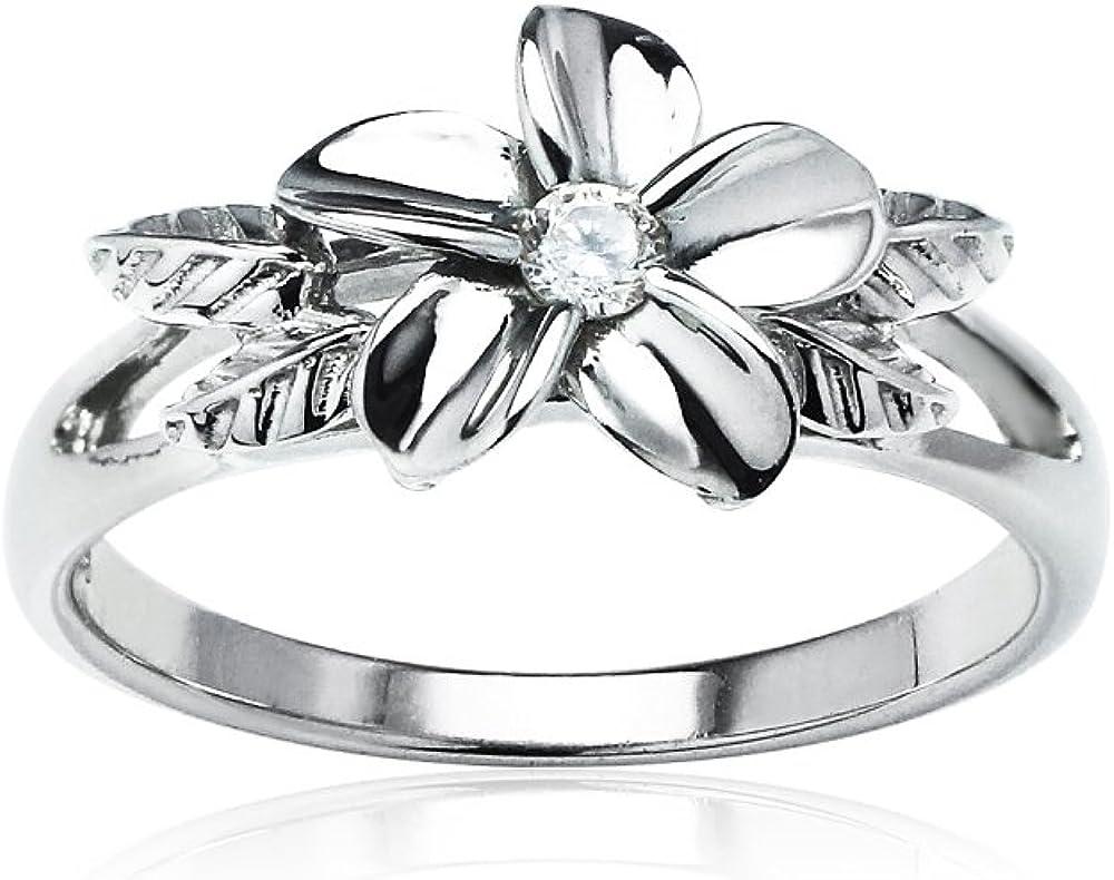 Hoops & Loops Sterling Silver Cubic Zirconia Petal Flower Ring