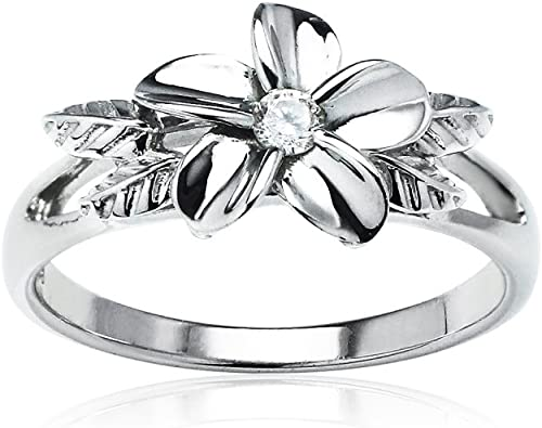 Adjust Fashion Statement Ring Silver Tone Flower with Cubic Zirconia in Center