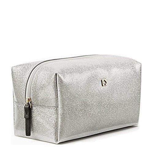 Kate Spade Mavis Street Medium Davie Make-up Pouch Cosmetics Bag in Silver (040)