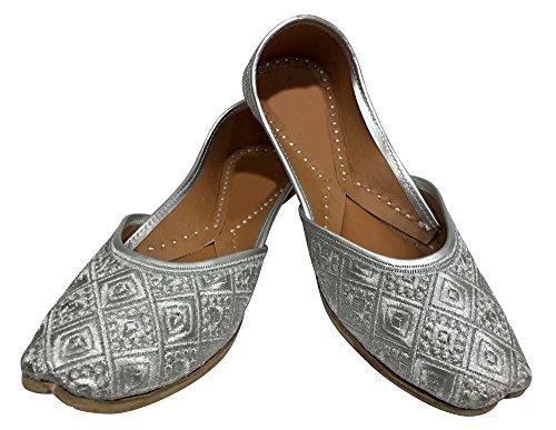 Step n Style - Sandalias de vestir para mujer plateado plata