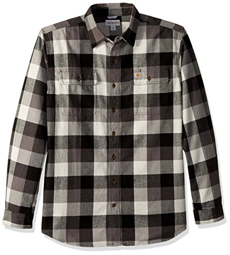 Carhartt Men's Big & Tall Hubbard Plaid Flannel Shirt,  Gravel, ()