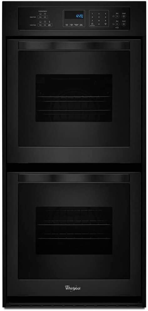 Whirlpool WOD51ES4EB 24 Electric Double Wall Oven with 6.2 cu ft Total Capacity AccuBake Temperature Management System Touch Control Digital Display Keep Warm Setting and Self-Cleaning System in