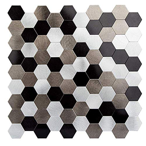 HomeyStyle Peel and Stick Tile Backsplash for Kitchen Wall Decor Self-Adhesive Aluminum Surface Metal Mosaic Tiles Sticker,Hexagonal Honeycomb 12