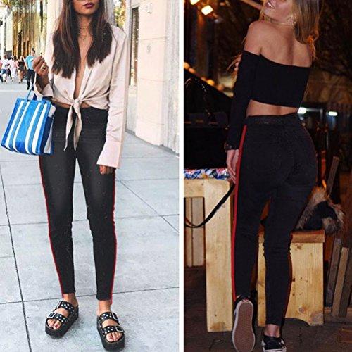 Magro Comodo Donna Stile Moda Cerniera Multipla Lampo Zhhlaixing Jeans Pantaloni Nero Da Attrezzato Scelta Denim Sottile Allungare nOXHHx5z