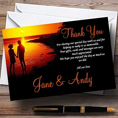 Couple On The Beach At Sunset Jetting Off Abroad Personalized Wedding Thank Y.