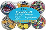 Office Supplies All In 1 Combo Set – Paper Clips, Binder Clips, Push Pins and Magnetic Button (204 pc. Set)