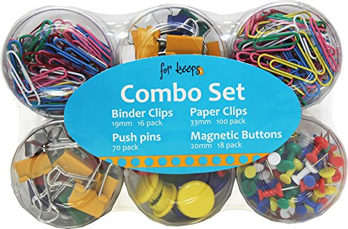 Office Supplies All In 1 Combo Set - Paper Clips, Binder Clips, Push Pins and Magnetic Button (204 pc. Set)